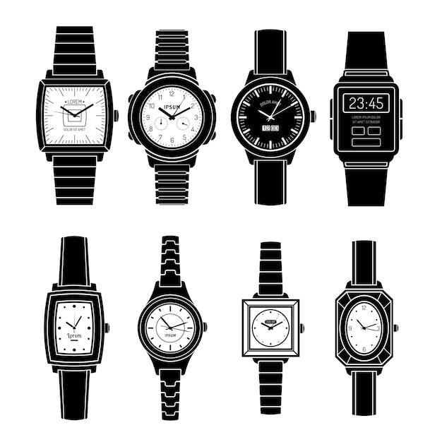 Popularne Zegarki Style Czarny Zestaw Ikon Premium Wektorów
