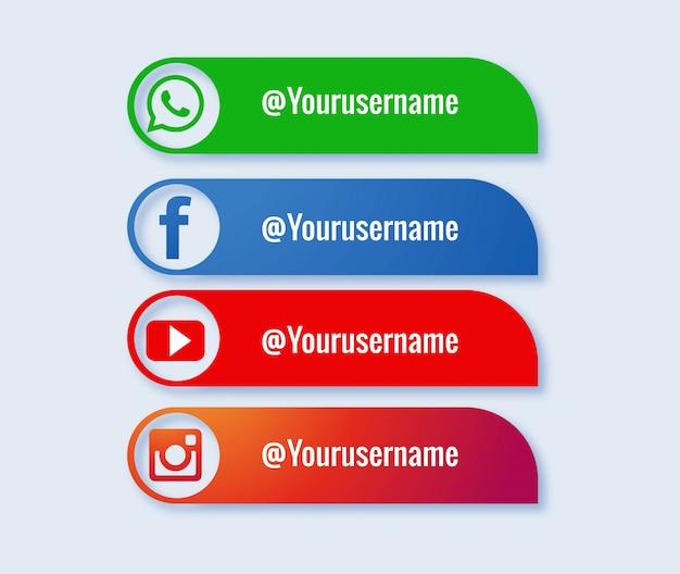 Popularny Zbiór Mediów Społecznościowych Na Niższych Trzecich Darmowych Wektorów