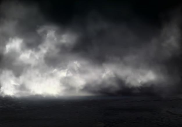 Poranna mgła lub mgła na rzece, dymie lub smogu rozprzestrzenia się w ciemnej wodzie lub powierzchni ziemi Darmowych Wektorów