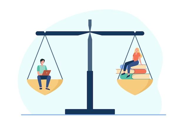 Porównanie Uczenia Się Online I Offline. Studenci Z Laptopem Lub Stosem Książek W Skali Równowagi. Ilustracja Kreskówka Darmowych Wektorów