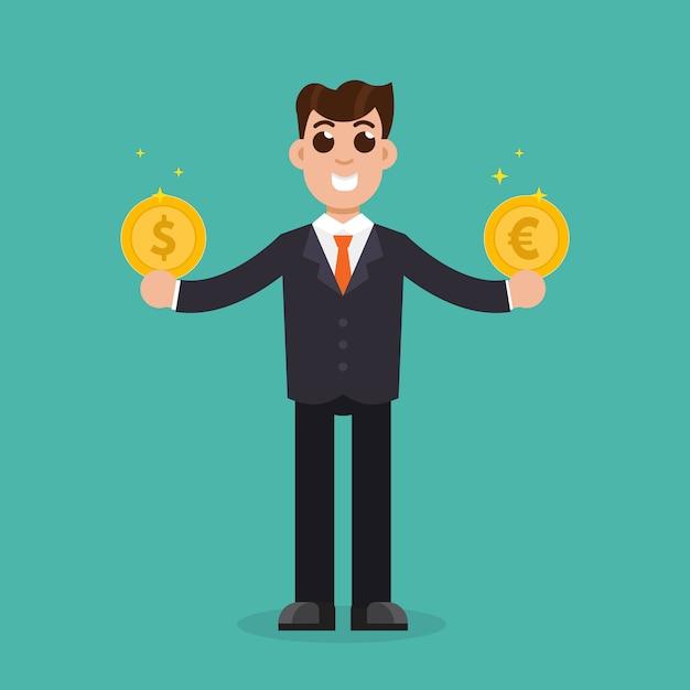 Porównanie walut. biznesmen trzyma dolarowe i euro złote monety Premium Wektorów