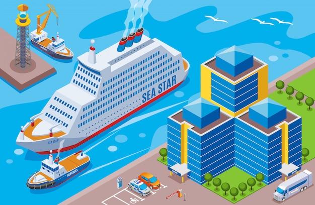 Port Morski Isometric Barwiony Pojęcie Z Dużym Statkiem Wymieniał Dennej Gwiazdy żeglowanie W Portowej Ilustraci Darmowych Wektorów