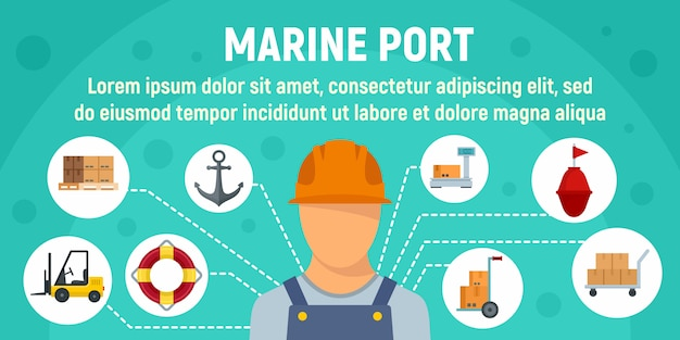 Port morski pracownik koncepcja transparent szablon, płaski Premium Wektorów