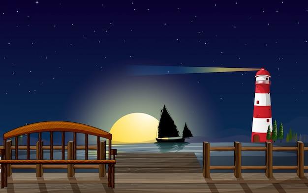 Port morski z latarnią morską Darmowych Wektorów