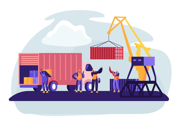 Port Wysyłkowy Z Dźwigiem Portowym Do Załadunku Kontenerów Na Morską łódź Towarową. Ilustracja Koncepcja Premium Wektorów