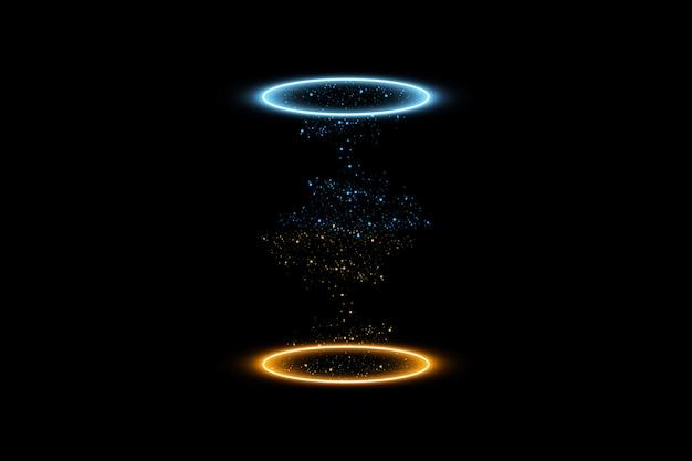 Portal Fantasy Fantasy. Futurystyczny Teleport. Efekt świetlny. Niebieskie I żółte Promienie świec Sceny Nocnej Z Iskrami Na Przezroczystym Tle. Premium Wektorów