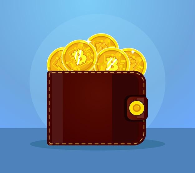 Portfel Pełen Ikon Bitcoinów. Ilustracja Kreskówka Płaska Premium Wektorów