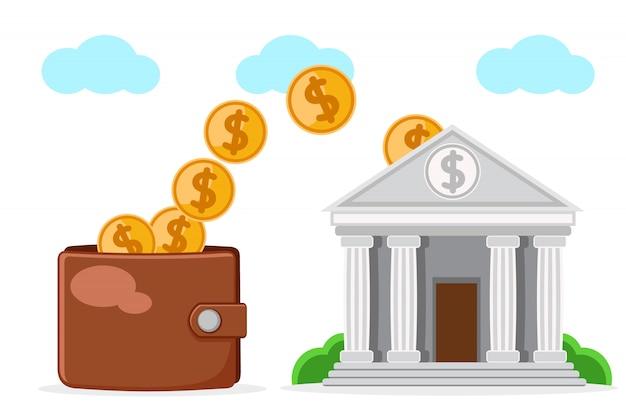 Portfel Uzupełnia Się Pieniędzmi Banku Na Białym Tle. Premium Wektorów
