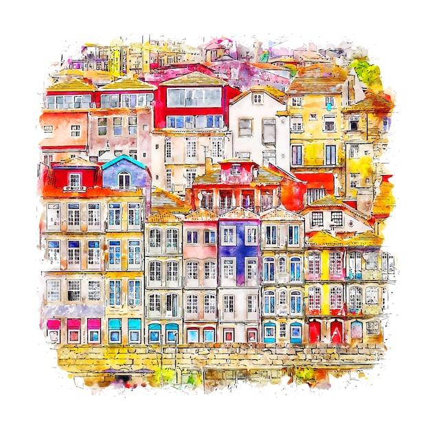 Porto, Portugalia Szkic Akwarela Ręcznie Rysowane Ilustracja Premium Wektorów