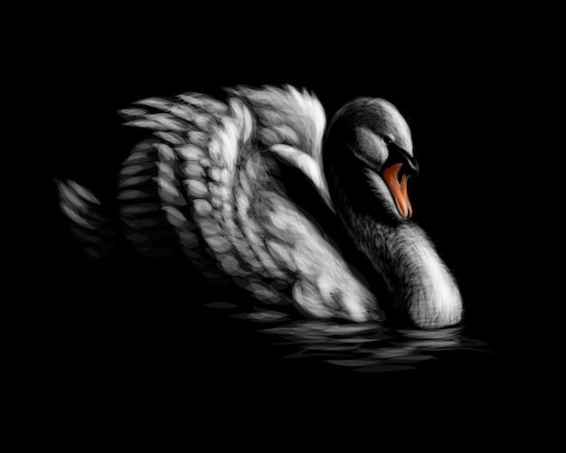 Portret Białego łabędzia Na Czarnym Tle. Ilustracja Premium Wektorów