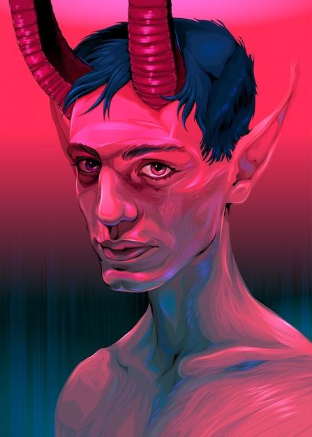 Portret Diabła Chłopca Premium Wektorów