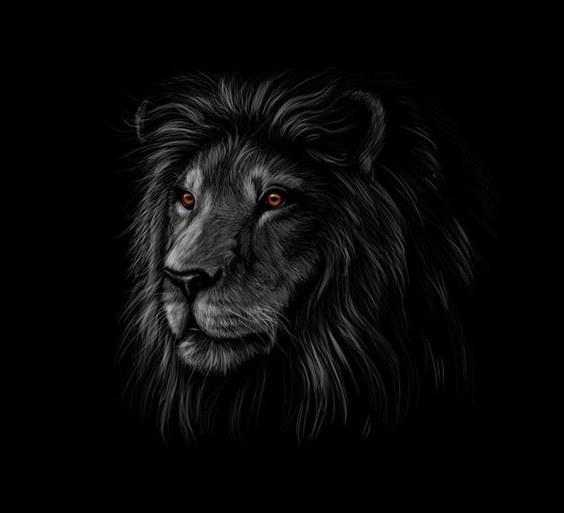 Portret Głowy Lwa Na Czarnym Tle. Ilustracji Wektorowych Premium Wektorów