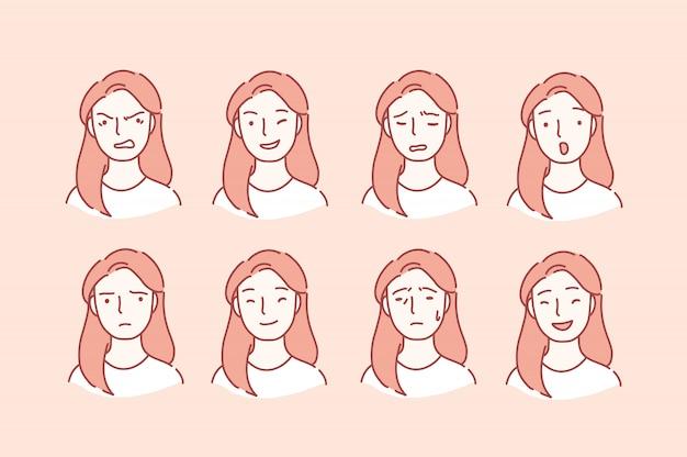 Portret kobiety z różnymi wyrazami twarzy. Premium Wektorów