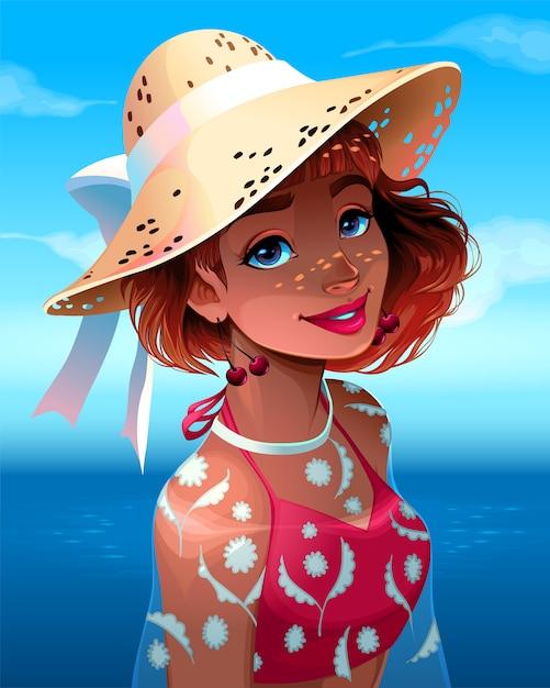 Portret Pięknej Dziewczyny W Kapeluszu Premium Wektorów