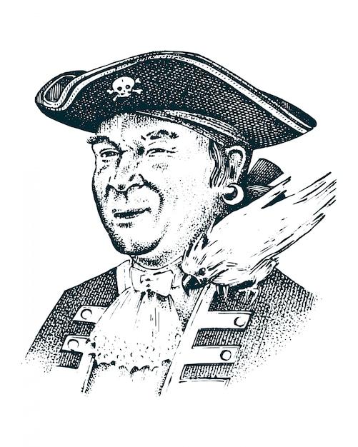 Portret Pirata. Kapitan Człowiek Na Statku Podróżującym Po Oceanach I Morzach. Premium Wektorów