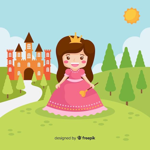 Portret płaski księżniczka brunetka Darmowych Wektorów