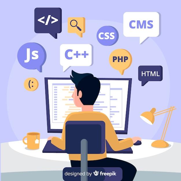Portret Programisty Pracującego Z Komputerem Premium Wektorów