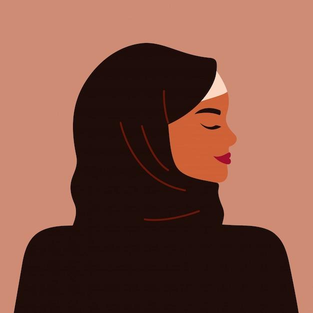 Portret Silnej Kobiety Muzułmańskiej W Profilu Na Sobie Czarny Hidżab. Pewna Siebie Arabska Dziewczyna Premium Wektorów