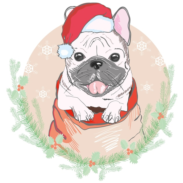 Portret śliczny Francuski Buldog W Czerwonych Bożych Narodzeniach Kapeluszowych. święty Mikołaj Boże Narodzenie. Premium Wektorów