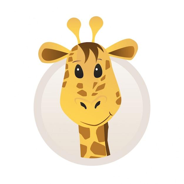 Portret żyrafa W Stylu Cartoon Z Ramką Dla Profilu Profilu Zwierząt Darmowych Wektorów
