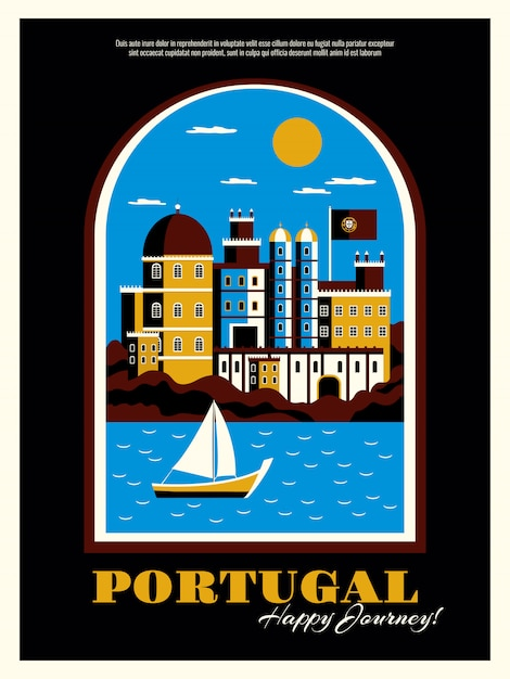 Portugalia Turystyki Plakat Z Budynków Oceanem I łódkowatymi Symbolami Płaska Wektorowa Ilustracja Darmowych Wektorów