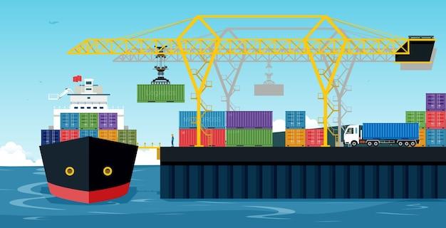 Porty Ze Statkami Towarowymi I Kontenerami Współpracują Z Dźwigiem. Premium Wektorów