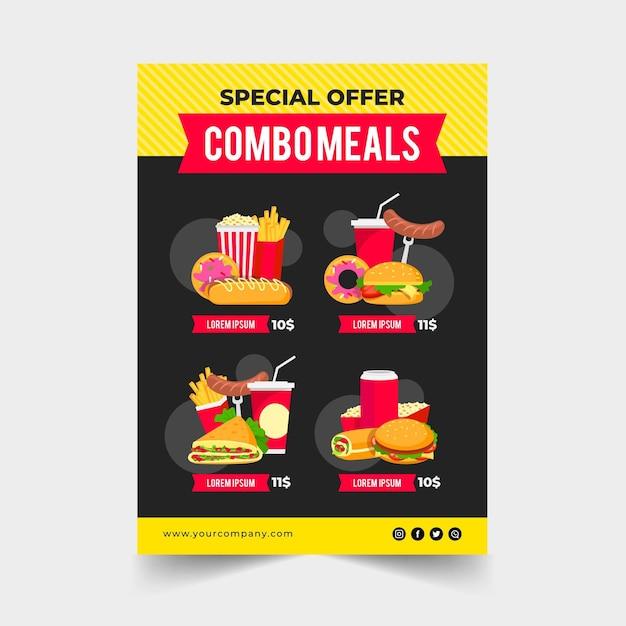 Posiłki Combo - Koncepcja Plakatu Darmowych Wektorów