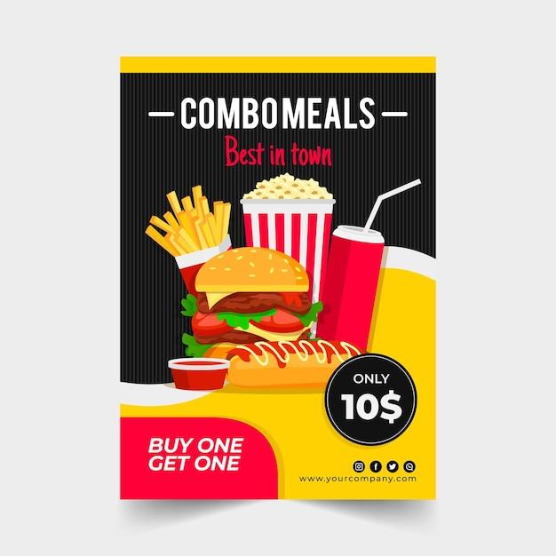Posiłki Combo - Koncepcja Plakatu Premium Wektorów