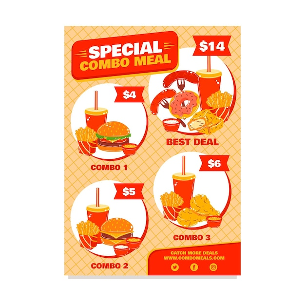 Posiłki Combo - Plakat Premium Wektorów
