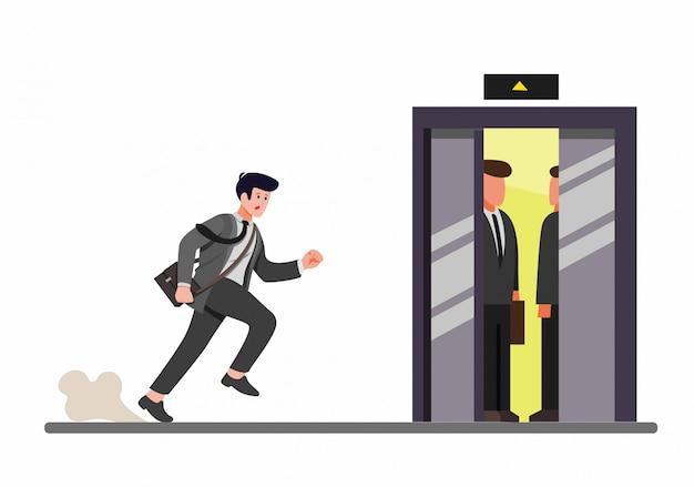 Pośpieszny Biznesmen Biega Inside Winda, Urzędnik Opóźniony Dla Pracy W Kreskówki Mieszkania Ilustraci Premium Wektorów