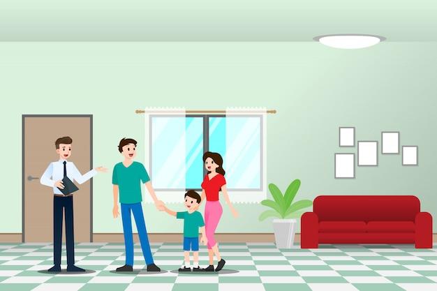 Pośrednik Pokazuje Miejsce Zamieszkania Klientowi Z Rodziną. Premium Wektorów