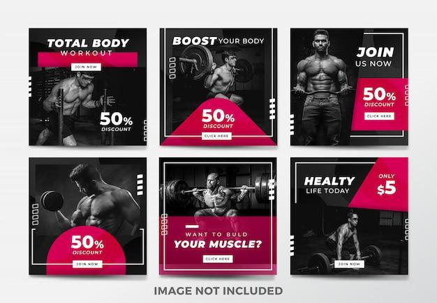 Post lub kwadratowy baner na instagramie. motyw siłowni i fitness Premium Wektorów