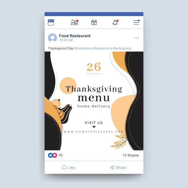 Post Na Facebooku Z Okazji święta Dziękczynienia Darmowych Wektorów