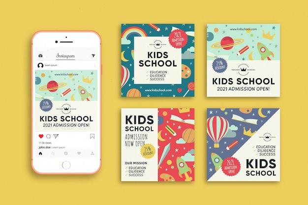 Post Na Instagramie Dotyczący Przyjęcia Do Szkoły Dla Dzieci Darmowych Wektorów