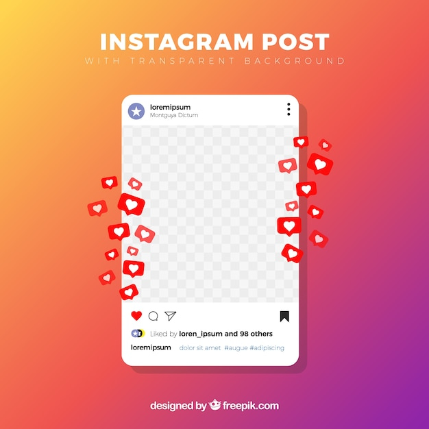 Post na instagramie z przezroczystym tłem Darmowych Wektorów