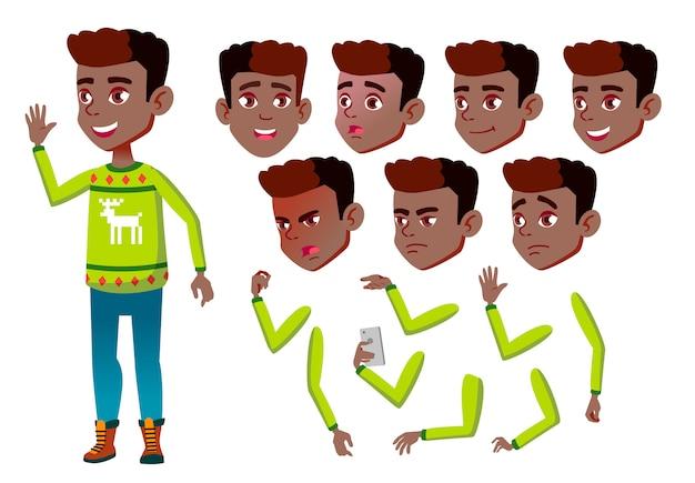 Postać chłopca dziecka. afrykanin. kreator tworzenia animacji. twarz emocje, ręce. Premium Wektorów