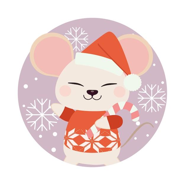 Postać cute myszy stojącej w fioletowym kółku z płatka śniegu. Premium Wektorów