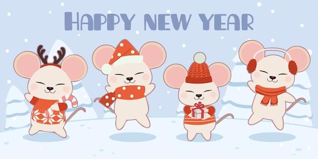 Postać cute myszy w zestawie motywów świątecznych. Premium Wektorów