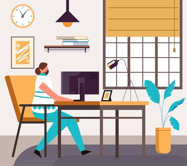 Postać Freelancer Kobieta Pracująca I Studiująca W Domowym Biurze. Premium Wektorów