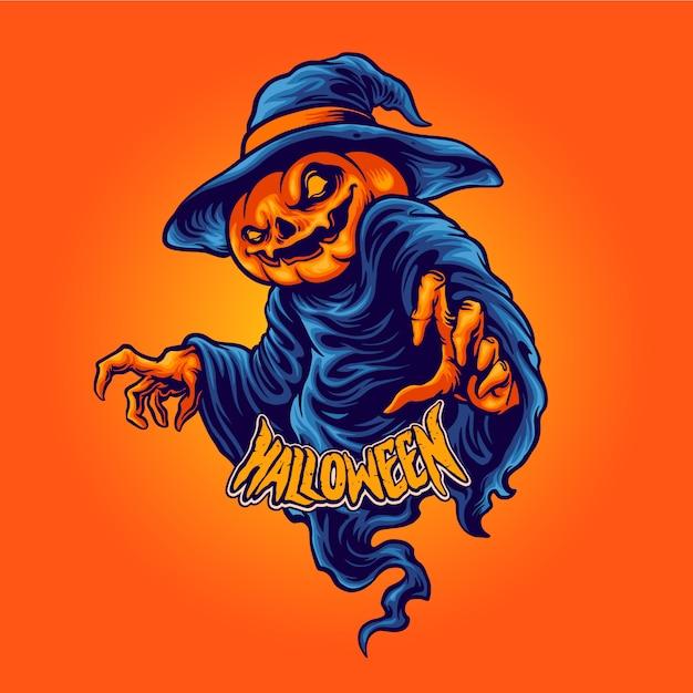 Postać Halloween Dynia Głowa Terroru Premium Wektorów