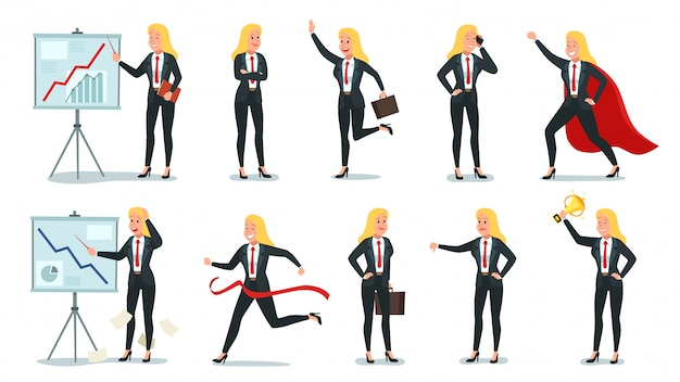 Postać Kobiety Biznesu. Biurowy Fachowy Pracownik, Młoda żeńska Sekretarka I Korporacyjny Bizneswoman Ilustraci Set ,. Premium Wektorów