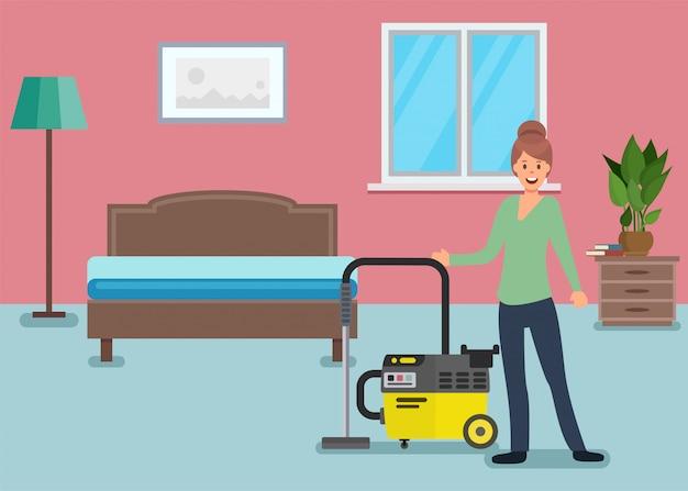 Postać kobiety do czyszczenia sypialni w mieszkaniu domu. Premium Wektorów