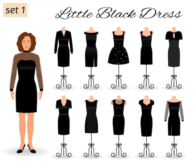Postać Kobiety Moda W Małą Czarną Sukienkę. Zestaw Sukienek Koktajlowych Na Manekinach. Premium Wektorów