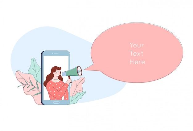 Postać Kobiety W Smartfonie Krzyczy W Głośniku. Koncepcja Promocji Reklamy Kreskówka. Ogłoszenie W Megafonie. Premium Wektorów