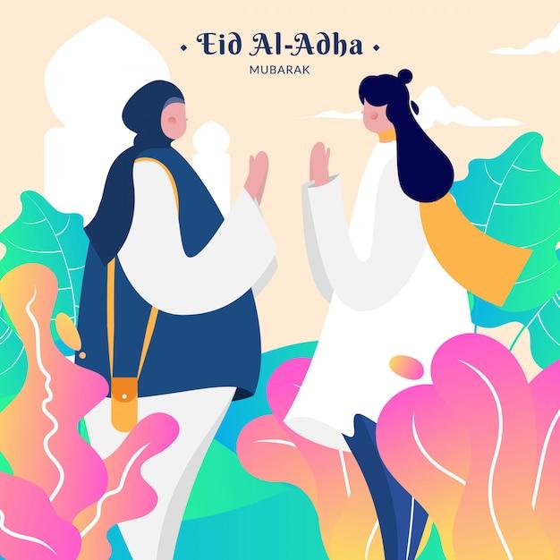 Postać Na Muzułmańskie Wakacje Eid Al-adha Premium Wektorów