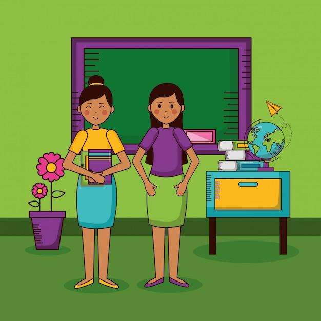 Postać nauczyciela w klasie szkolnej Darmowych Wektorów
