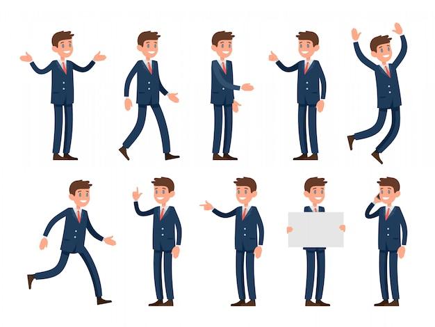 Postać Rzecznika Biznesowego W Stylu Kreskówki Ubrana W Garnitur. Zestaw Znaków W Różnych Pozach I Gestach: Powitanie Dłonią, Wzruszanie Ramionami, Palec Wskazujący, Spacery I Inne. Premium Wektorów