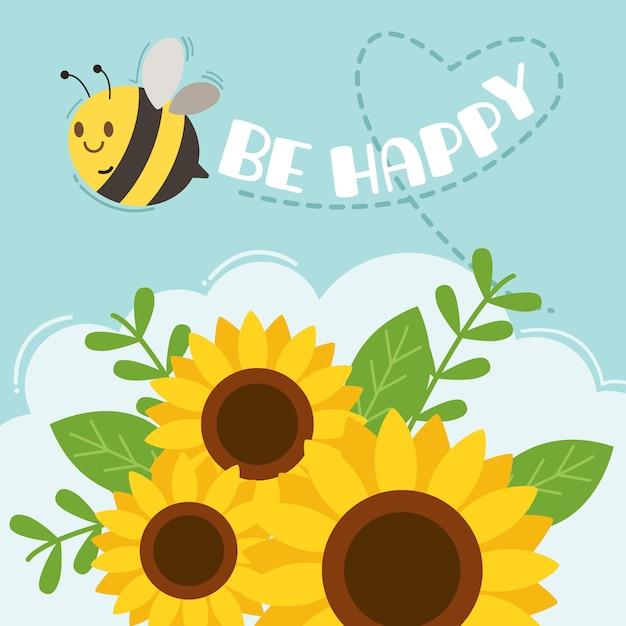 Postać śliczna pszczoła lata na niebie z słonecznikiem i tekst pszczoła szczęśliwi. Premium Wektorów