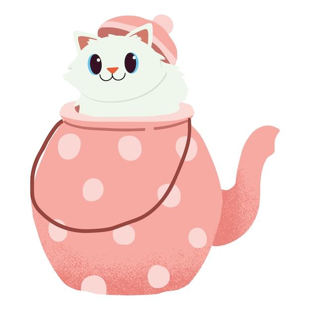Postać ślicznego kota siedzącego w dzbanku do herbaty. czas na herbatę. Premium Wektorów