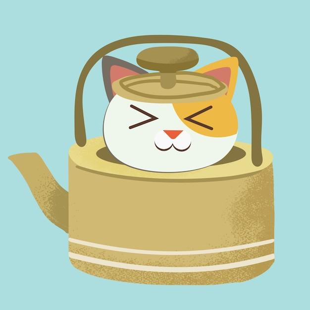 Postać ślicznego kota siedzącego w żółtym dzbanku do herbaty. Premium Wektorów